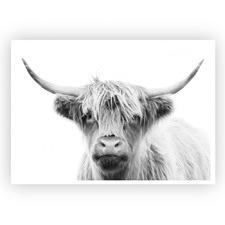 Monotone Highland Cow Printed Wall Art