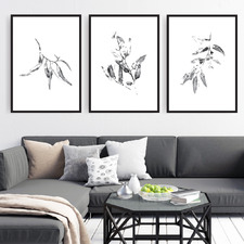 Glorious Gum Leaves Printed Wall Art Triptych