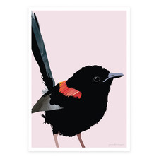 Red-Backed Fairy Wren Printed Wall Art