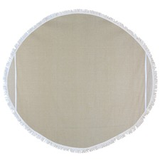 Round Solid Waffle Turkish Style Towel in Beige