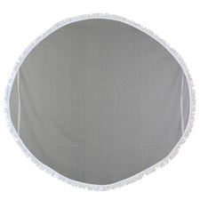 Round Solid Waffle Turkish Style Towel in Light Grey