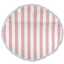 Round Bold Stripe Turkish Style Towel in Coral