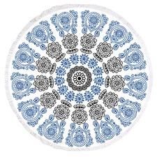 Round Printed Paisley Blue Beach Towel