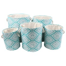 Moroccan Blue Fabric Bins (Set of 5)