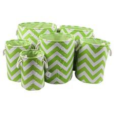 Zig Zag Green Fabric Bins (Set of 6)