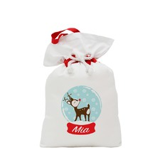 Traditional Reindeer Snow Globe Santa Sack