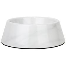 White Faux Carrara Marble Dog Bowl