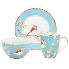 3 Piece Blue Early Bird Porcelain Breakfast Set