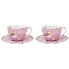 Pink Early Bird 280ml Porcelain Cups & Saucers (Set of 2)