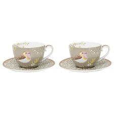 Khaki Early Bird 280ml Porcelain Cups & Saucers (Set of 2)