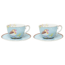 Blue Early Bird 280ml Porcelain Cups & Saucers (Set of 2)