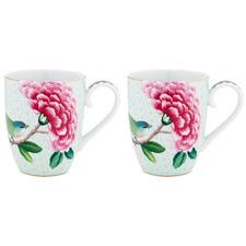 White Blushing Birds 350ml Porcelain Mugs (Set of 2)