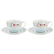 White Blushing Birds 280ml Porcelain Cups & Saucers (Set of 2)