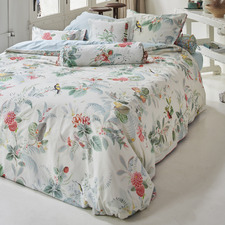 White Floris Cotton Percale Quilt Cover Set