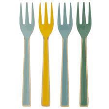 4 Piece Multi-Coloured Ishvi Enamelled Dessert Fork Set
