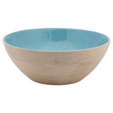 Blue Blushing Birds 32cm Enamelled Wooden Bowl