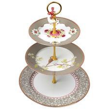 Khaki Floral 3 Tier Porcelain Cake Stand