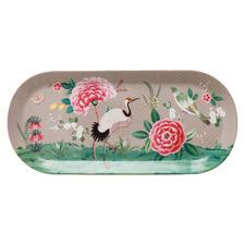 Khaki Blushing Birds 33.3cm Oval Porcelain Platter
