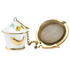 White & Gold Birdhouse Porcelain Tea Infuser