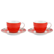 Red Blushing Birds 120ml Espresso Cups & Saucers (Set of 2)