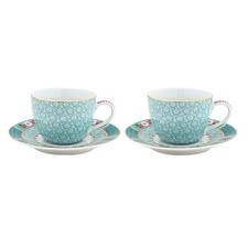 Blue Blushing Birds 120ml Espresso Cups & Saucers (Set of 2)