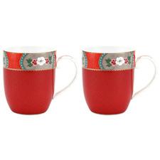 Red Blushing Birds 145ml Mugs (Set of 2)