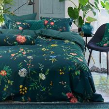 Dark Blue Fleur Grandeur Cotton Quilt Cover Set