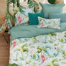White Palm Scenes Cotton Quilt Cover Set
