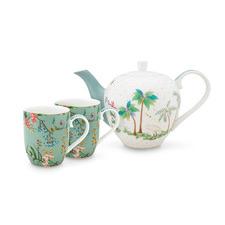 3 Piece Blue Jolie Flowers Tea Set