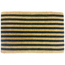 Black & Natural Stripe Coir Doormat