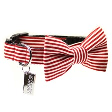 Red & White Stripes Dog Bow Tie and Collar