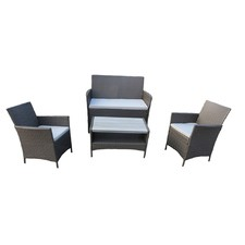 Ravello 4 Piece Rattan Sofa Set with Polywood Table