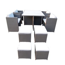 Messina 9 Piece Rattan Dining Set with Polywood Table