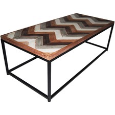Distressed Wood & Metal Coffee Table