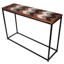 Distressed Wood & Metal Console Table