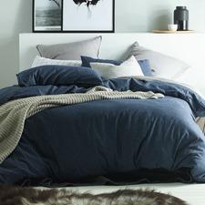 Dark Denim & Linen Cotton Quilt Cover Set