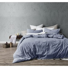 Blue Washed Cotton Quilt Cover Set