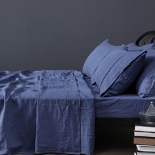 Indigo Vintage Design Linen Sheet Set