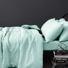 Mist Vintage Design Linen Quilt Cover Set