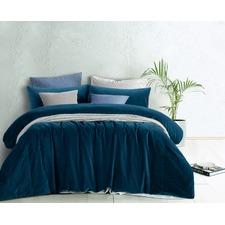 Riverland Blue Cotton Velvet Double Bed Quilt Cover Set
