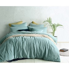 Mist Green Cotton Velvet Double Bed Quilt Cover Set