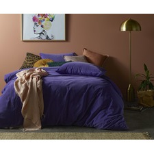Purple Ultra Violet Cotton Velvet Quilt Cover Set