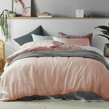 Peach Linen Quilt Cover Set
