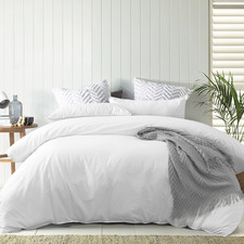 White Lee Stonewashed Cotton Quilt Cover Set