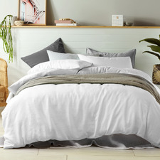White Vintage Design Linen Quilt Cover Set