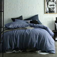 Navy Stripe Yarn-Dyed Linen Quilt Cover Set