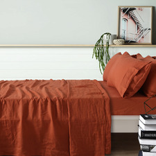 Tobacco French Linen Sheet Set