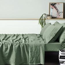 Fog Green Vintage Style Linen Sheet Set