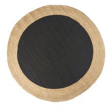 Black Maha Hand-Loomed Jute-Blend Round Rug