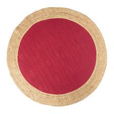 Red Maha Hand-Loomed Jute-Blend Round Rug